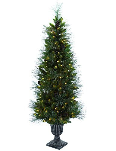 Abusa Prelit Potted Pencil Christmas Tree 65 With Bristle Pine Needles Cones 200 Led Lights 428 Branch Tips Pencil Christmas Tree Christmas Tree Slim Xmas Tree