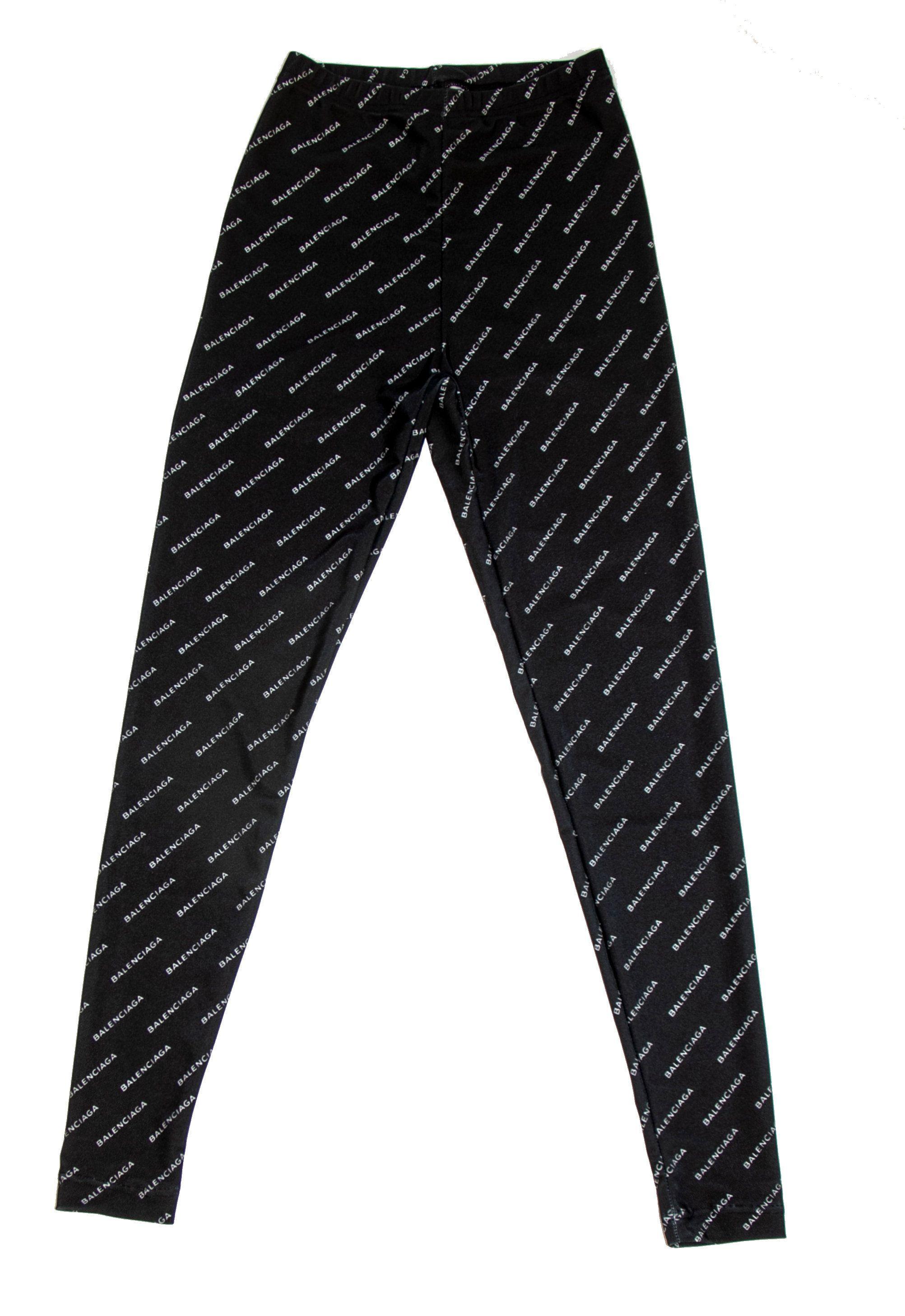 57e1dae34 Designer Logo Mania Repeat Print Footless Spandex Nylon Leggings For Women  Made In The USA White On Black