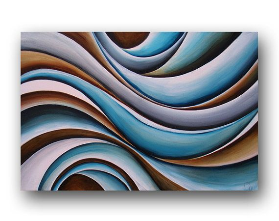 Contemporary Painting Blue & Brown Painting by heatherdaypaintings,