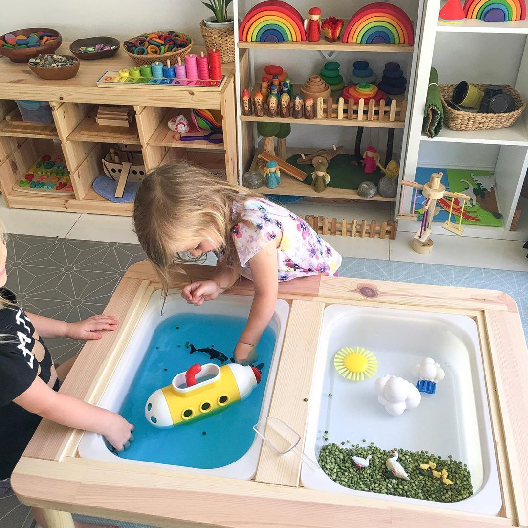 Sensory Table 🏻 Using Our Flisat Table From Ikea As A