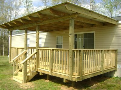 Custom Wood Deck And Cover For Manufactured Home Mobile Home