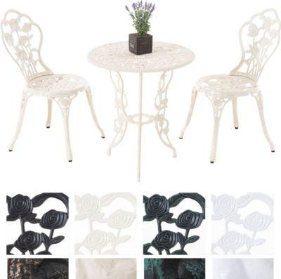 Sitzgruppe GANESHA, Garten-Set Gusseisen, antik, Tisch rund Ø 65 - sitzgruppe im garten gartenmobel sets