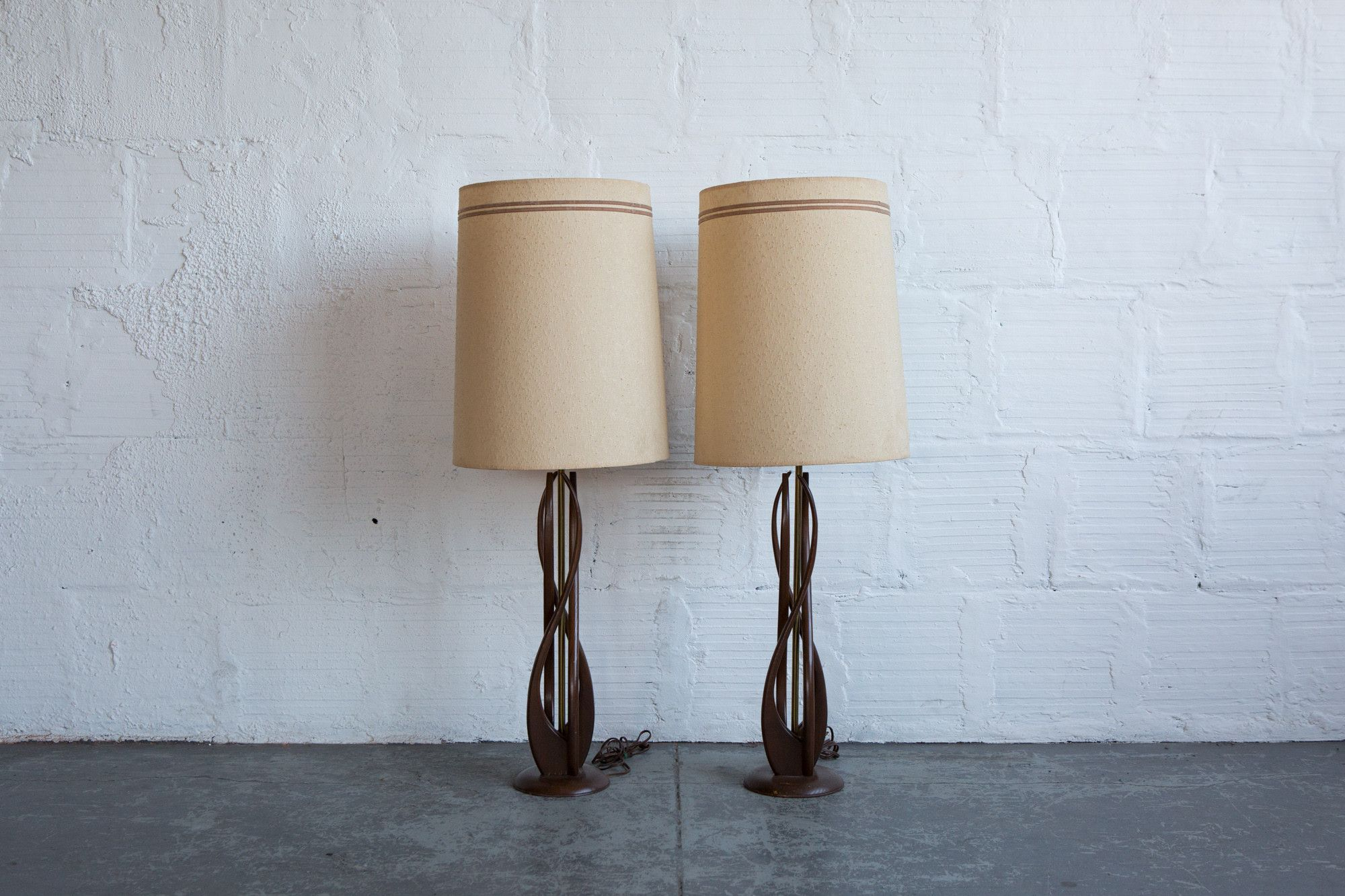 MCM Carved Wood Table L& (set of 2) & MCM Carved Wood Table Lamp (set of 2) | Wood table Table lamp sets ...