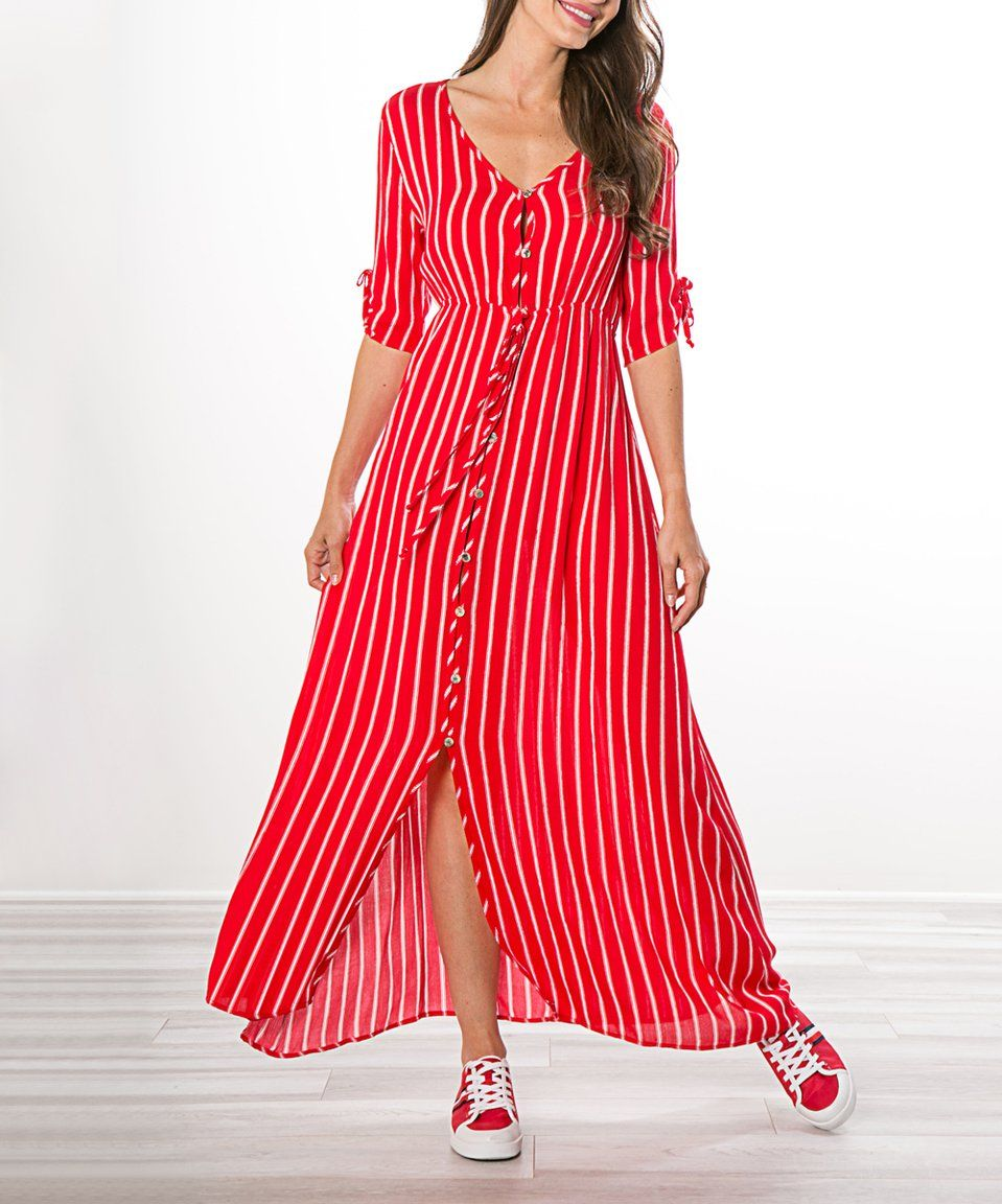 Take a look at this red stripe buttonup maxi dress women today