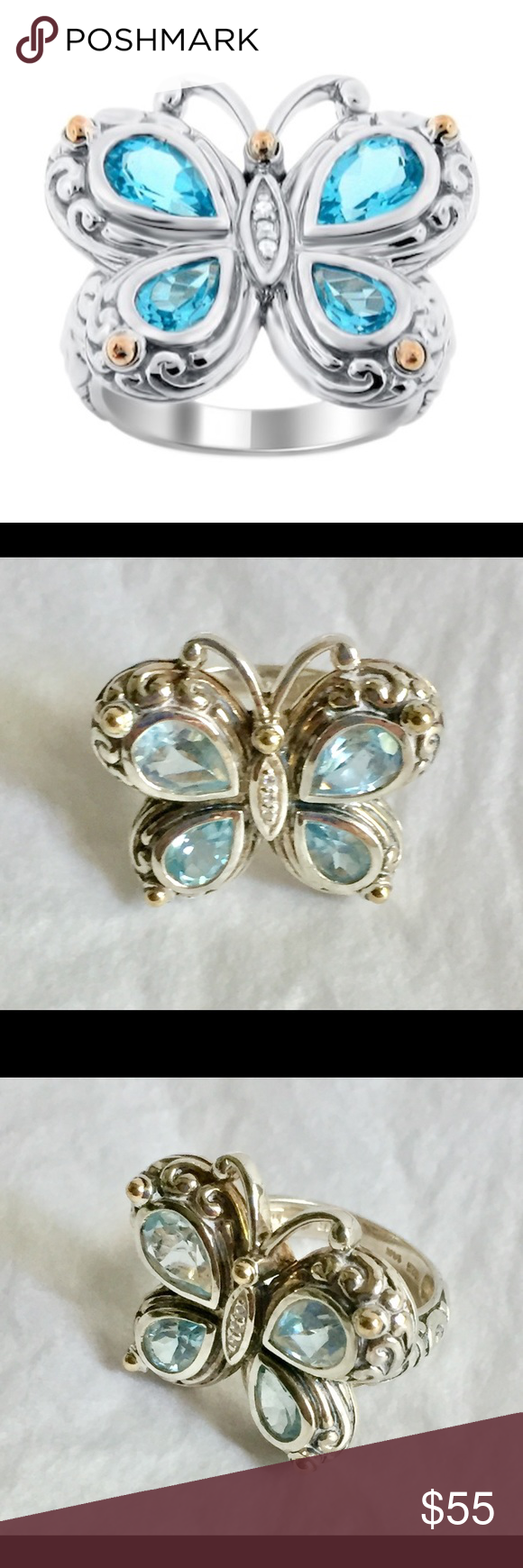 14k 925 gold sterling silver butterfly ring Butterfly