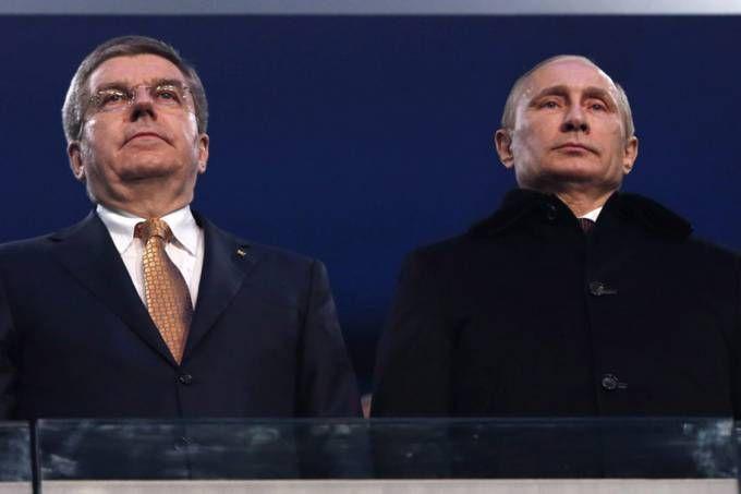Presidente da Rússia, Vladimir Putin, durante a cerimônia de abertura das Olimpíadas de Inverno de Sochi, na Rússia