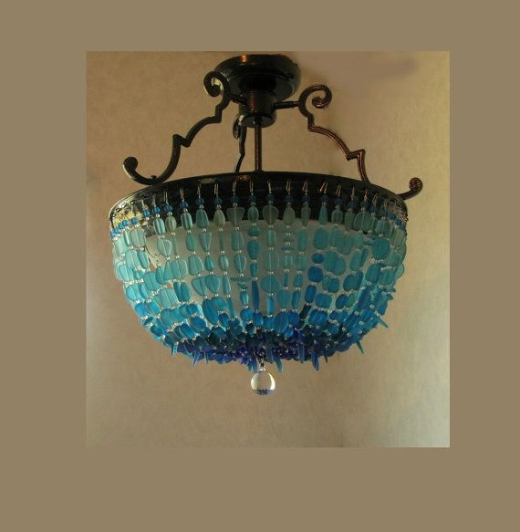 Beach Lighting Products: Sea Glass Chandelier Ombre Coastal Decor Beach Glass
