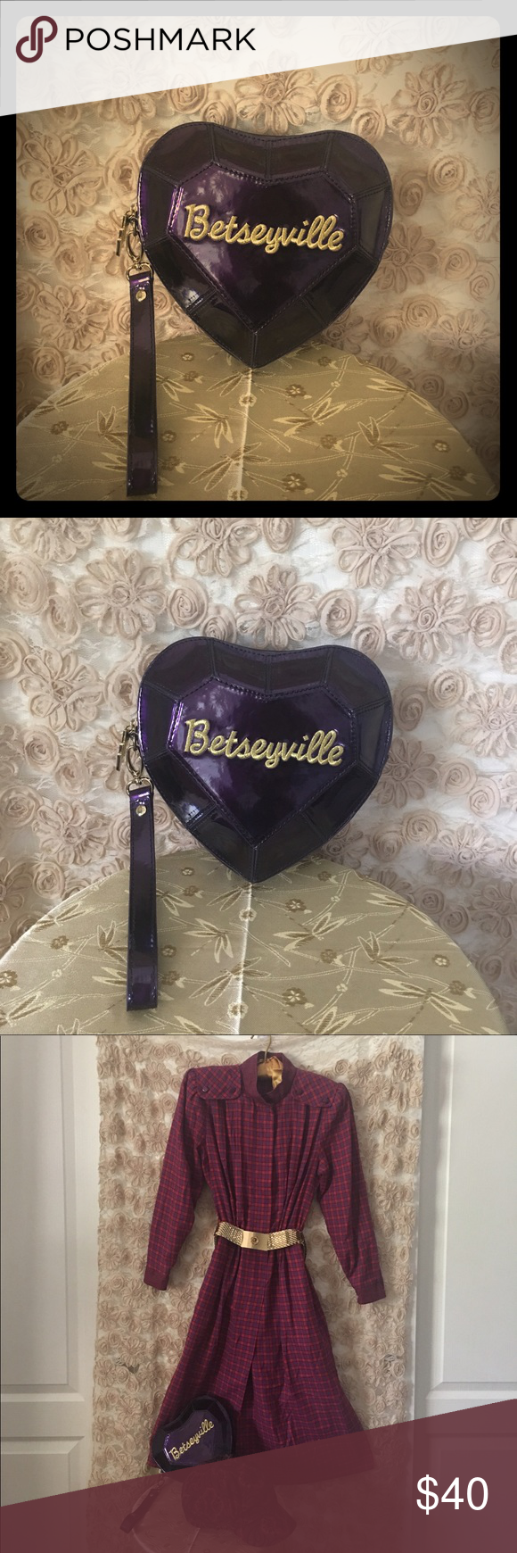 Purple Jewel Heart Betseyville Wristlet Purse Adorable little Betsey Johnson Betseyville purse. It holds a lot more than it looks like it would. Betsey Johnson Bags Clutches & Wristlets