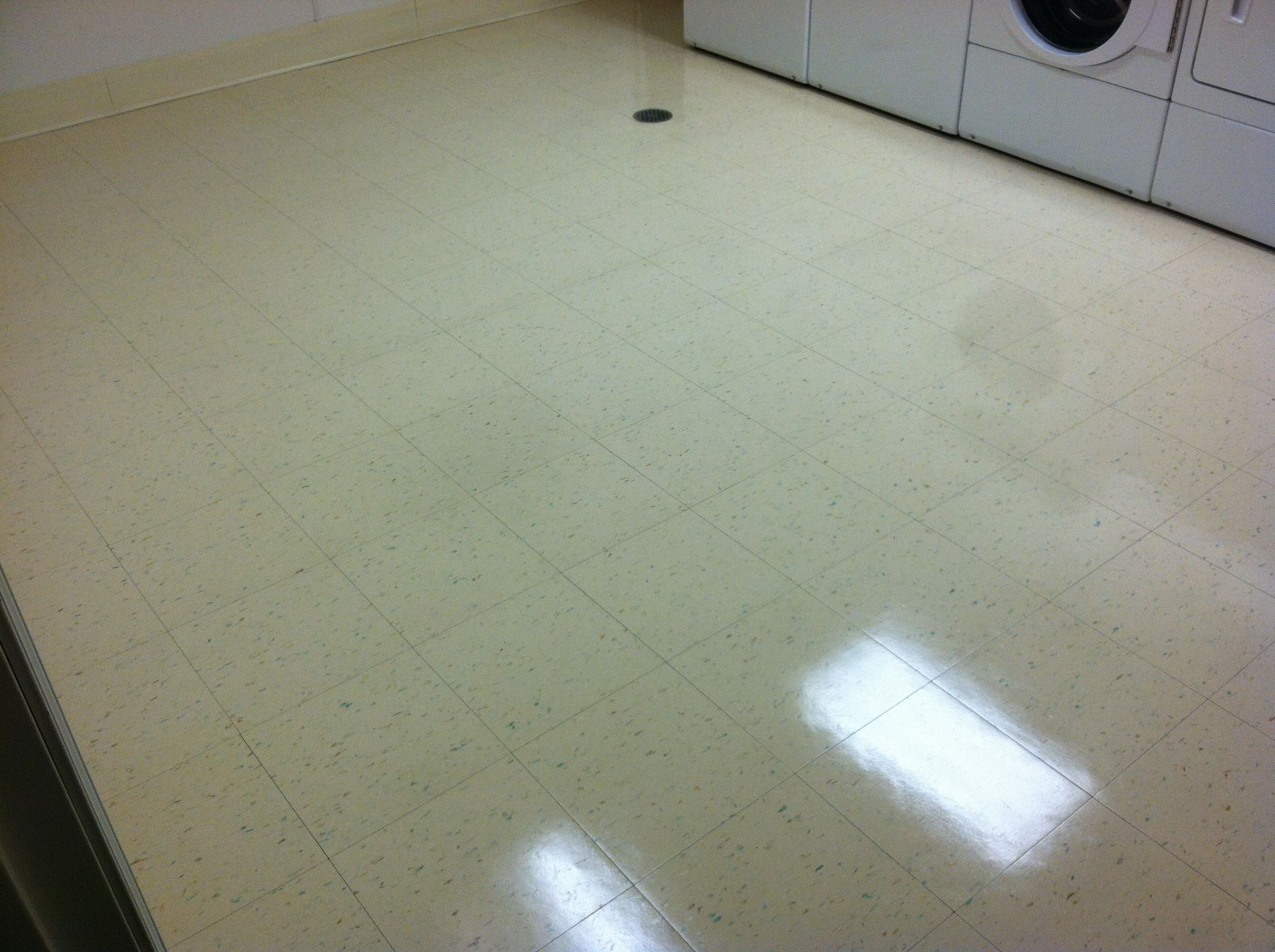 Hotel Laundry Room VCT Floor AFTER Cleaning by Renue