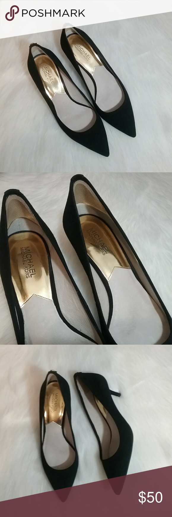 Michael Kors Black Suede Leather Kitten Heels Michael Kors Shoes Heels Kitten Heels Suede Leather