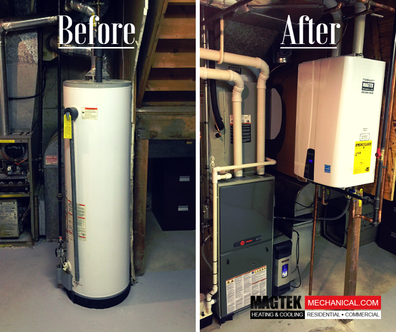 Old furnace and water heater vs. new furnace and wall hung ...