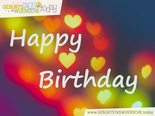 happy birthday mit bunten herzen   bild happy birthday