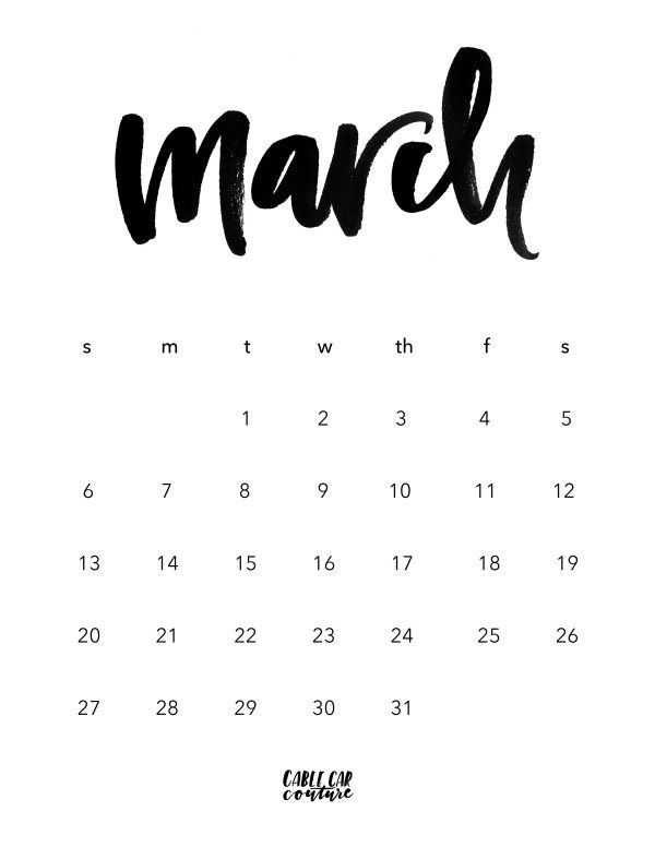 March 2016 Brush Calligraphy Calendar Free Digital Download