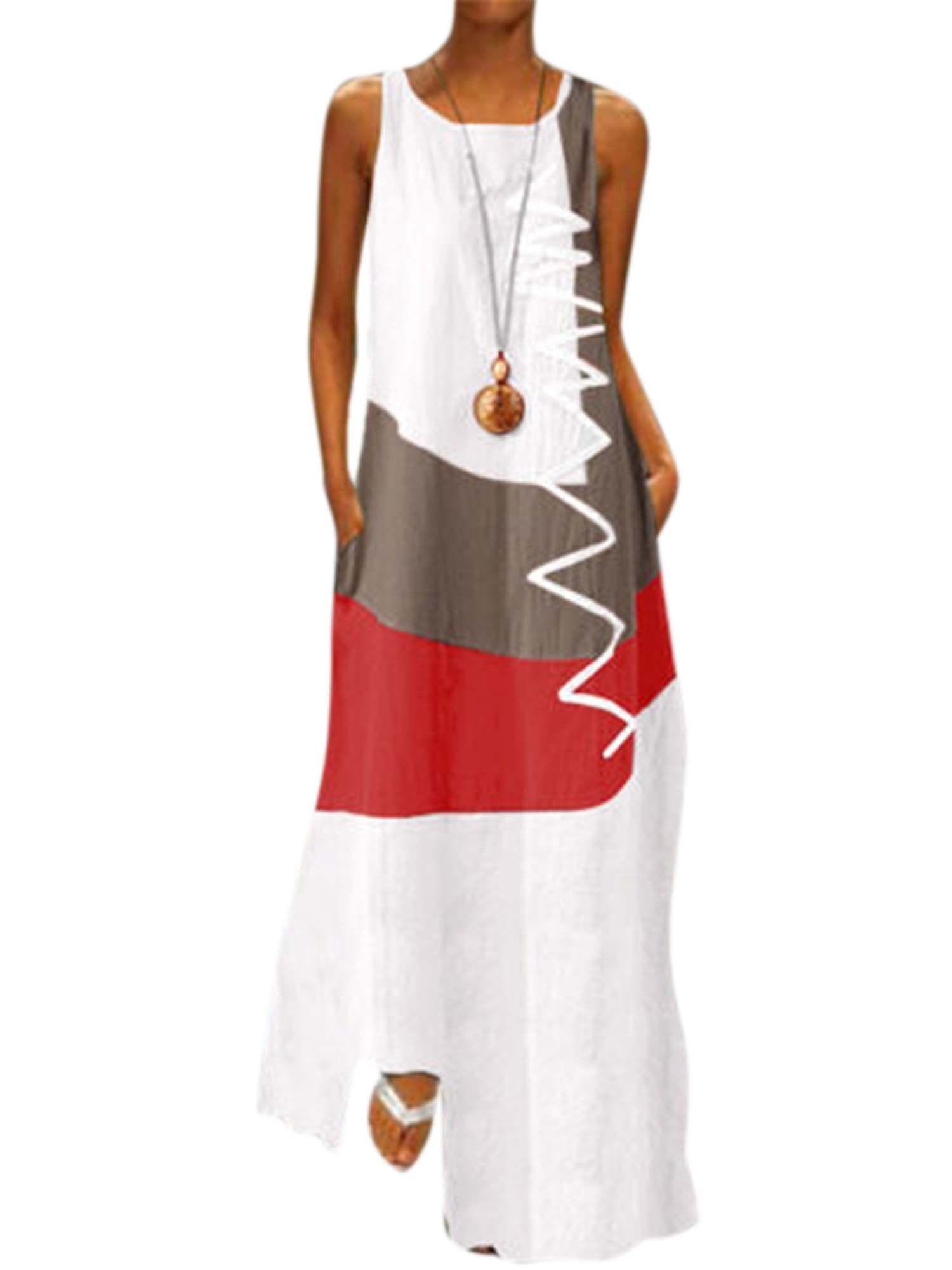 Lallc Women S Vintage Sleeveless Beach Maxi Dresses Plus Size Summer Loose Sundress Walmart Com In 2021 Color Block Tunics Womens Maxi Dresses 3xl Dress [ 2000 x 1500 Pixel ]