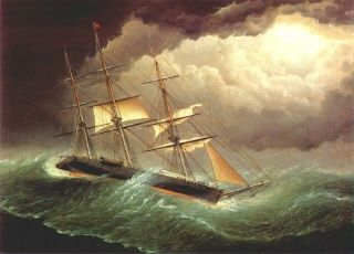 """Ocean Ship in a Gale"",  by  Thomas Buttersworth (1768-1828), England"