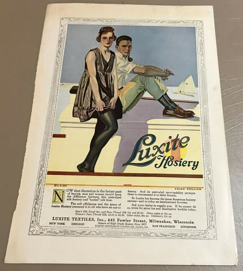 938a67b07bf15 Vintage Coles Phillips Print Ad for Luxite Hosiery, Textile Ad, Young  Couple #Ad