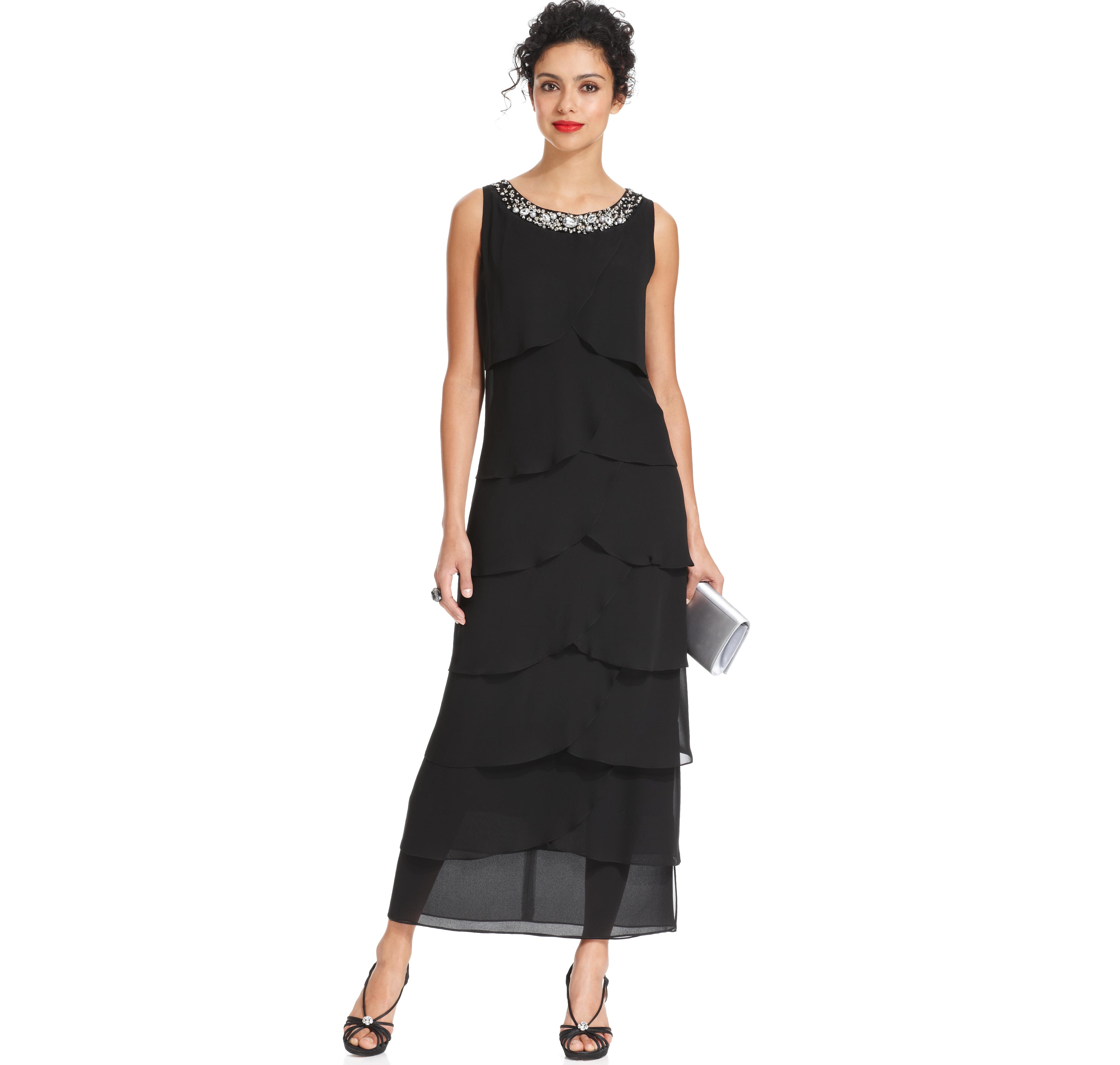 R&M Richards Petite Sleeveless Bead-Trim Tiered Dress | ELBİSE ...