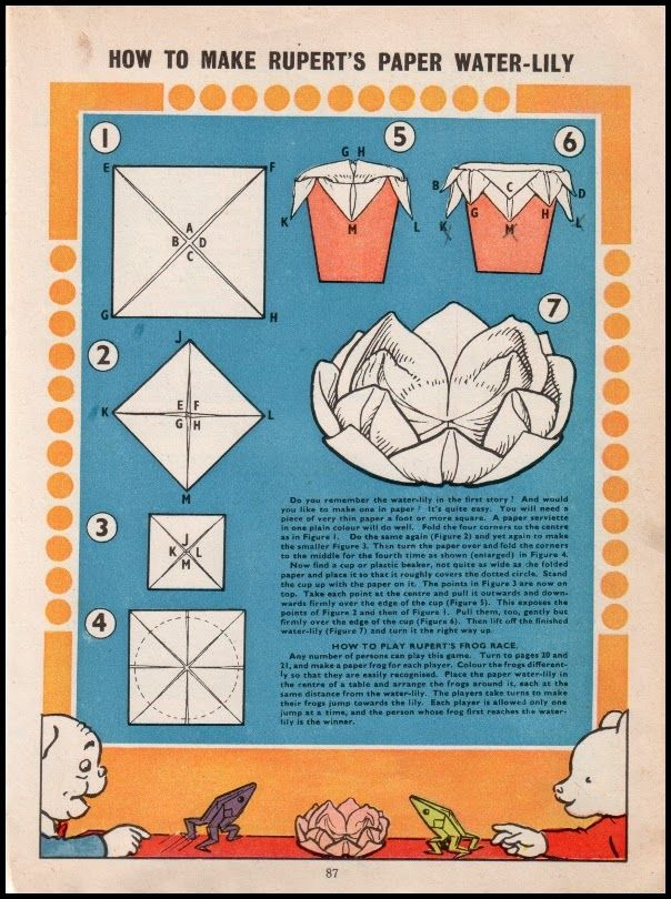 Every issue has an origami design for children or their parents to fold from a square sheet of paper. The directions for this paper water lily design appeared in the 1958 edition. Bear Origami, Pictures Of Leaves, Brain Parts, The Fifth Of November, Japanese Pagoda, 1970s Childhood, Paper Crowns, Country Fair, Mermaids And Mermen