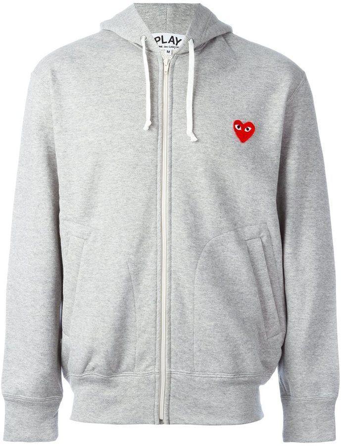 Comme Des Garcons Play Heart Patch Hoodie Farfetch Mens Sweatshirts Hoodie Hoodies Grey Hoodie Men