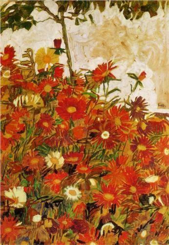 Field Of Flowers Egon Schiele 1910 Feld Mit Blumen Blumen Kunst Kunstlerbedarf