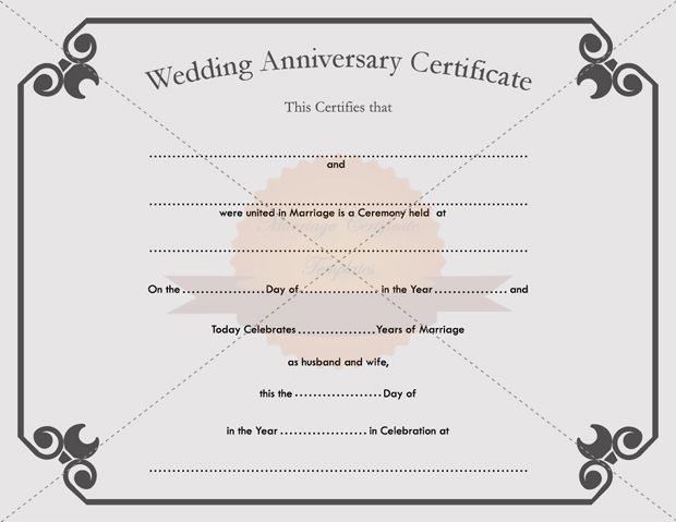 Printable Wedding Anniversary Certificate Template