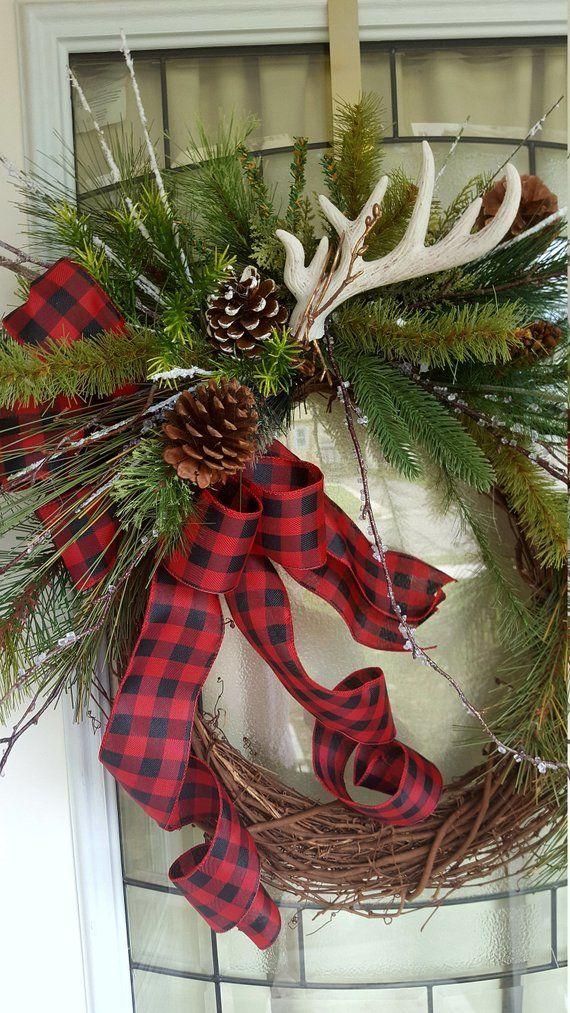 Rustic christmas wreath farmhouse christmas Etsy