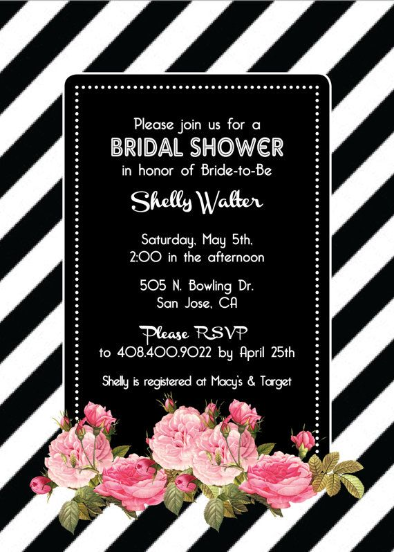 black white striped bridal shower bachelorette or birthday party