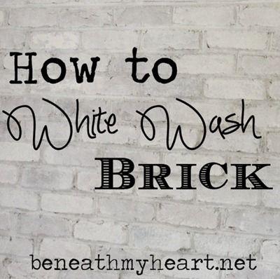 How To White Wash Brick Bathroom Update Beneath My Heart White Wash Brick Brick Bathroom White Wash