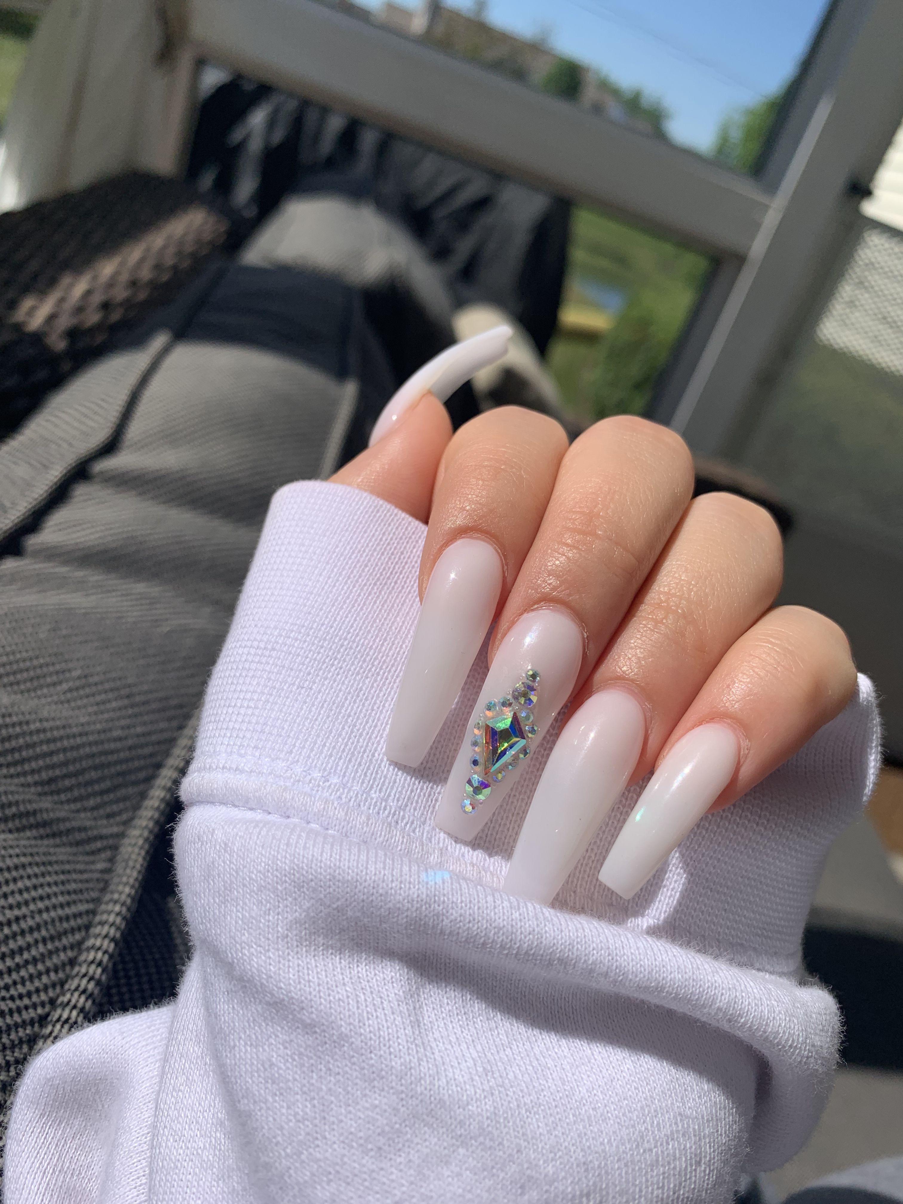 Coffin Acrylic White Acrylic Nails Acrylic Nails Green Acrylic Nails