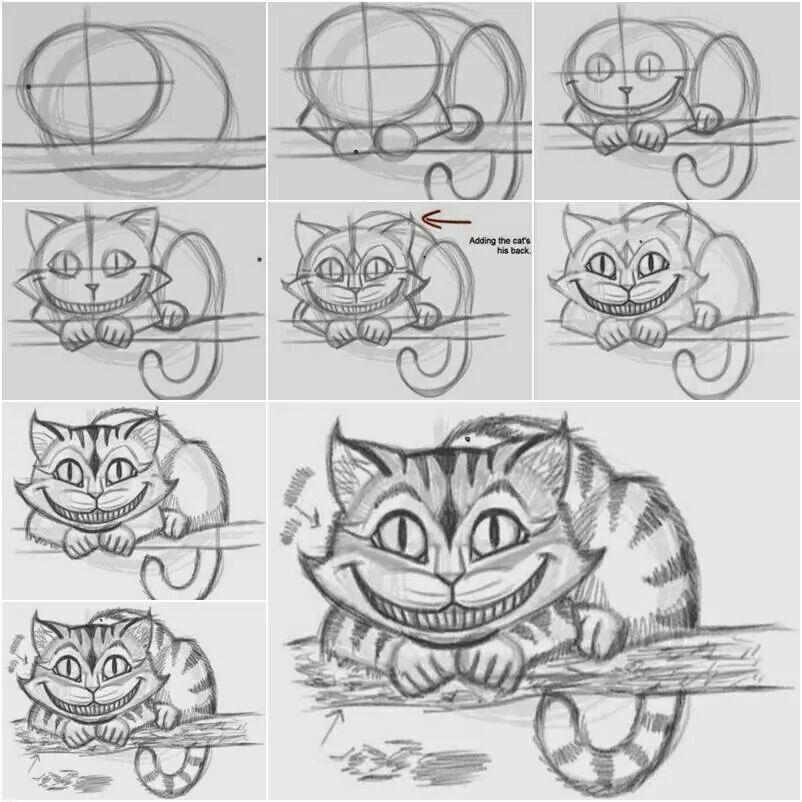 How To Draw The Cheshire Cat Easily Zeichenvorlagen Zeichnen