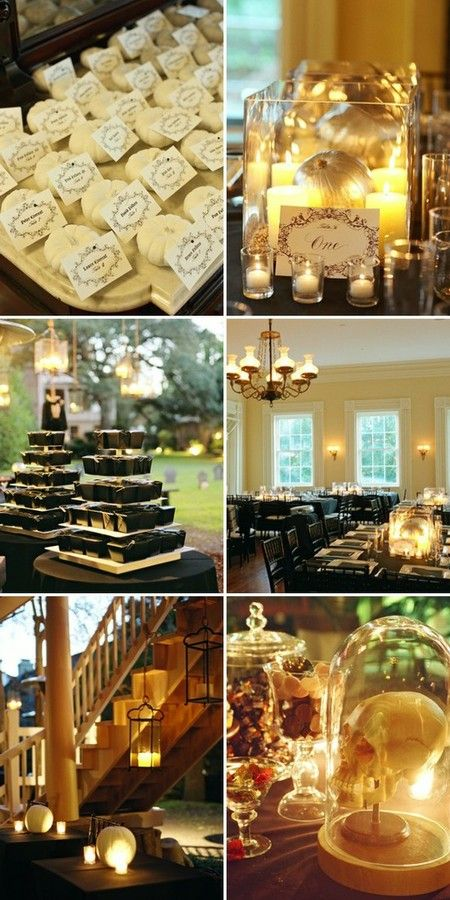 Halloween wedding reception - i love how understated this is, the details are surprising!