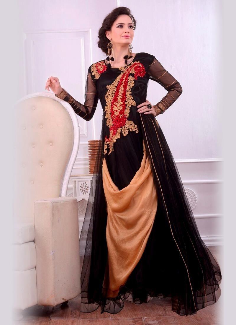 Striking beige and black net zari work designer gown beige