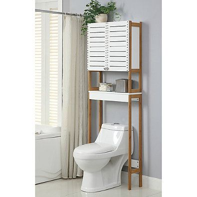 Neu Home Rendition Space Saver Cabinet In White Bamboo Toilet Storage Over The Toilet Cabinet Over Toilet Storage