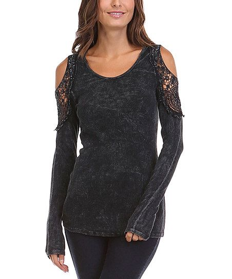 Urban X Black Lace Cutout Top | zulily