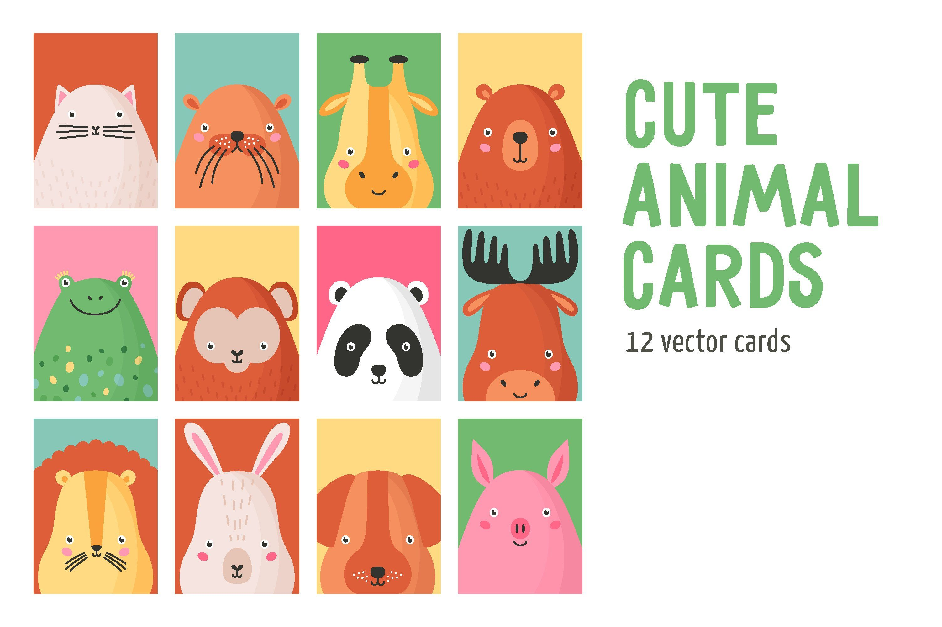 Cute Animals Card Set By Good Studio On Creativemarket In