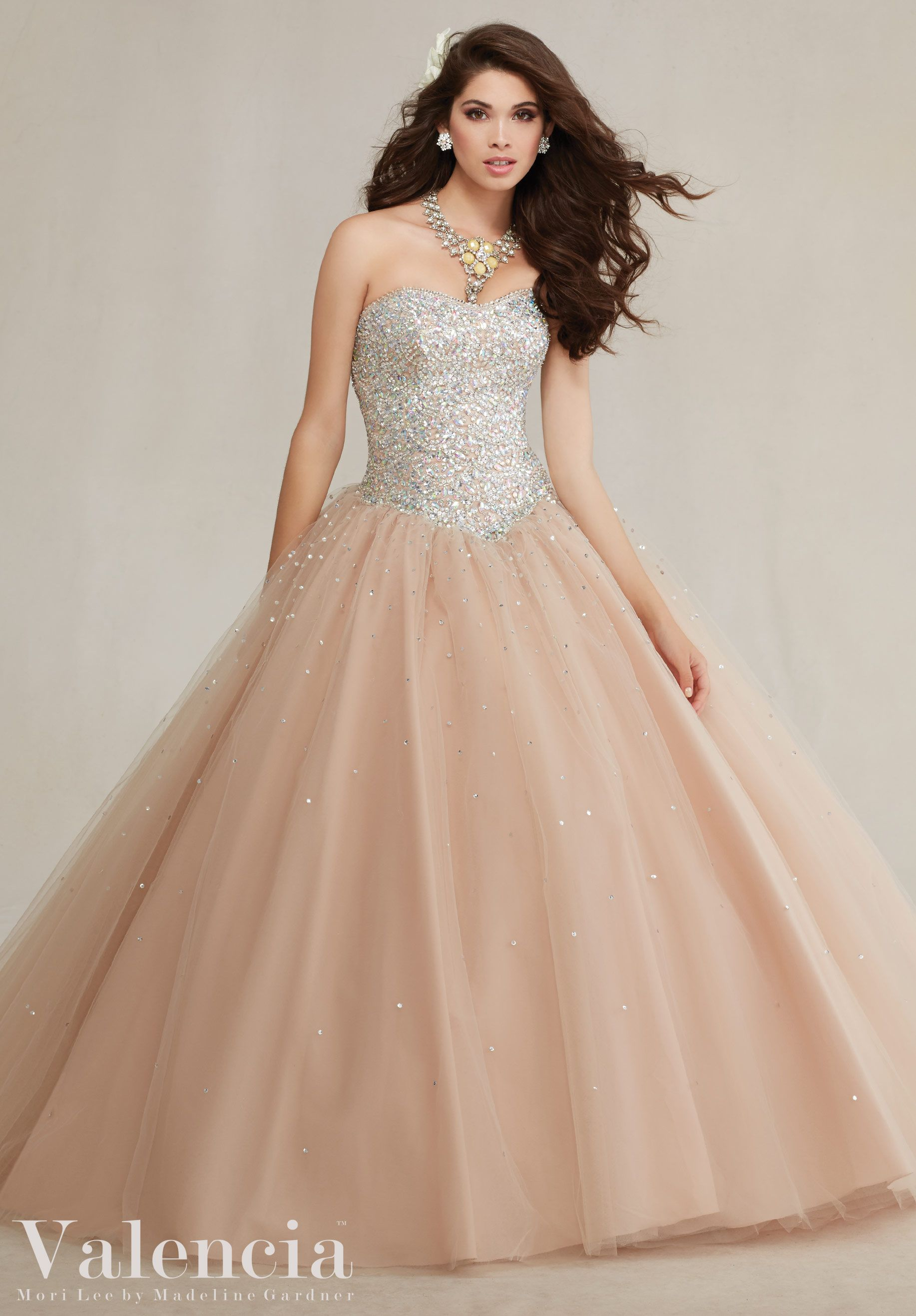 47fe4919d7a Beautiful Jeweled Beading on a Tulle Quinceanera Dress