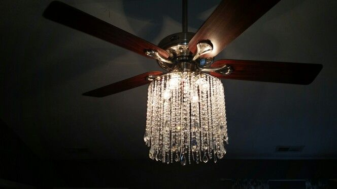 I'm calling it my fandalier. I made it from a drum lampshade frame and lots and lots of crystal beads of many different sizes from Amazon.I could have used acrylic beads but it wouldn't catch as much light. It's mounted around the four sockets for the bulbs with light weight chain.