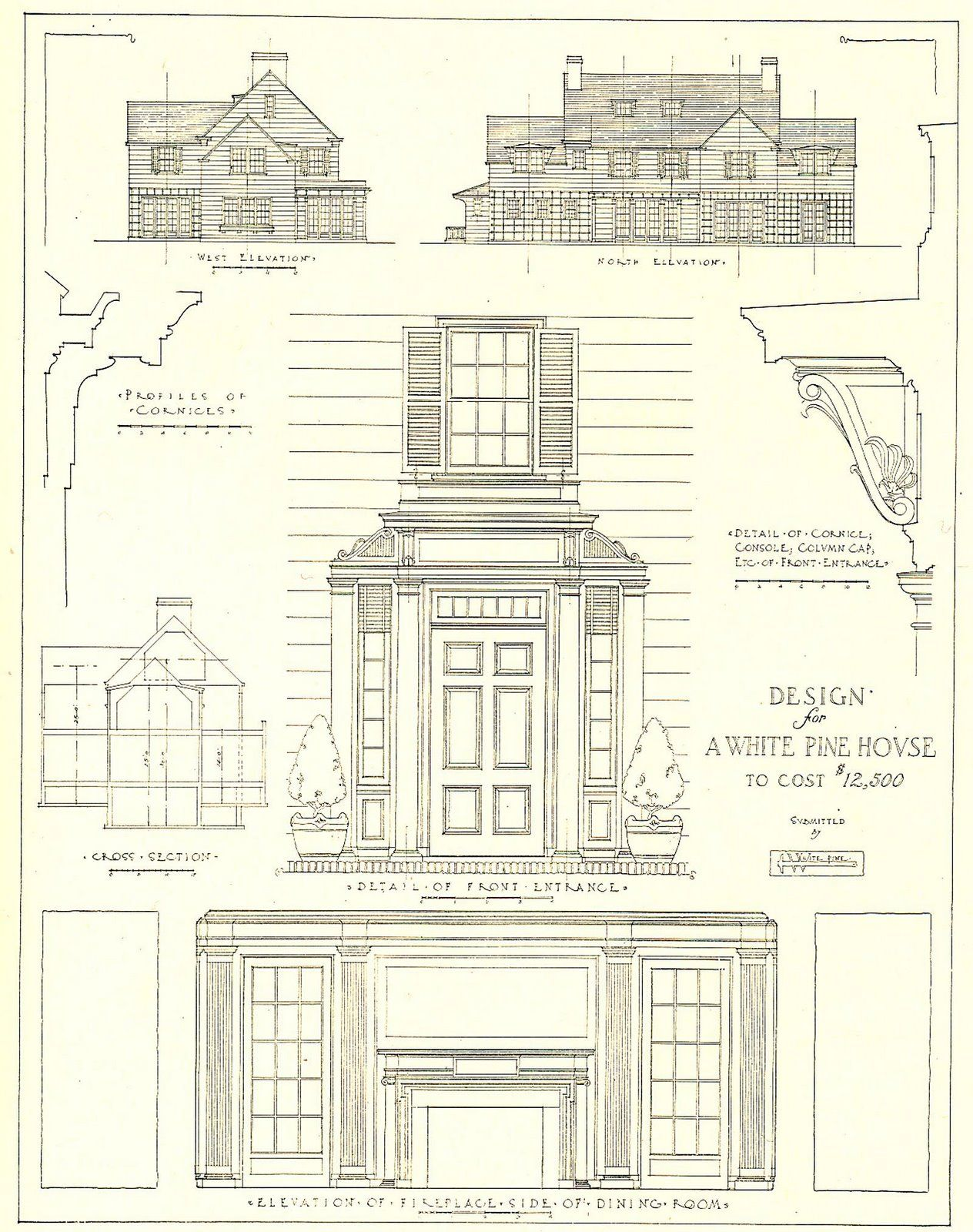 Architecture Drawing Kit 1917 architectural design for a white pine house costing 12,500