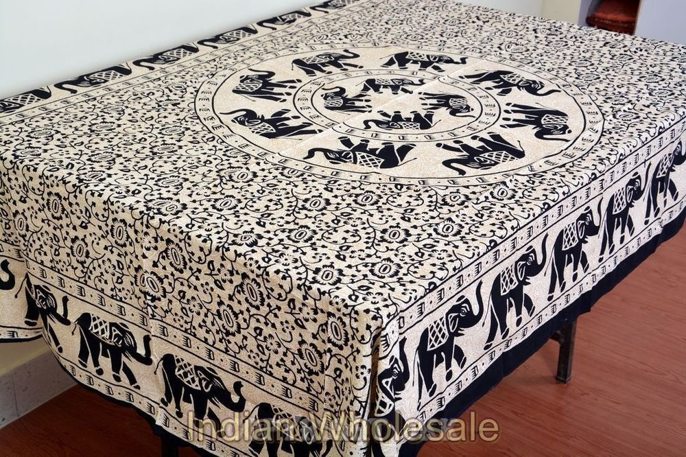 Indian Elephant Rectangular Cotton Printed Tablecloth Dining Table Cover Iwustc2