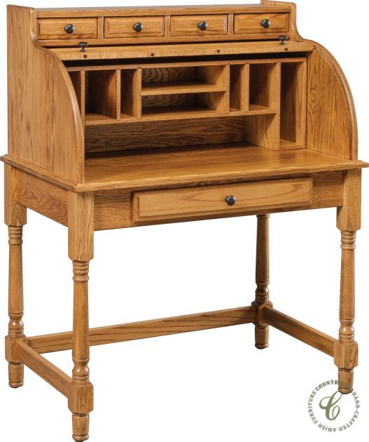 Available In Eight Solid Hardwoods Our Amish Made Playwright S Roll Top Desk Is A Great Work Surface For Layin Roll Top Desk At Home Furniture Store Furniture