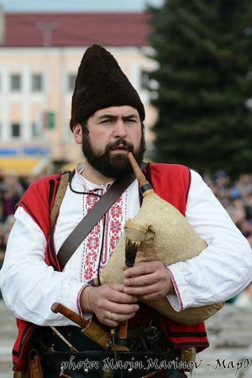 Bulgarian Gaidar (bagpipe player) in traditional costume