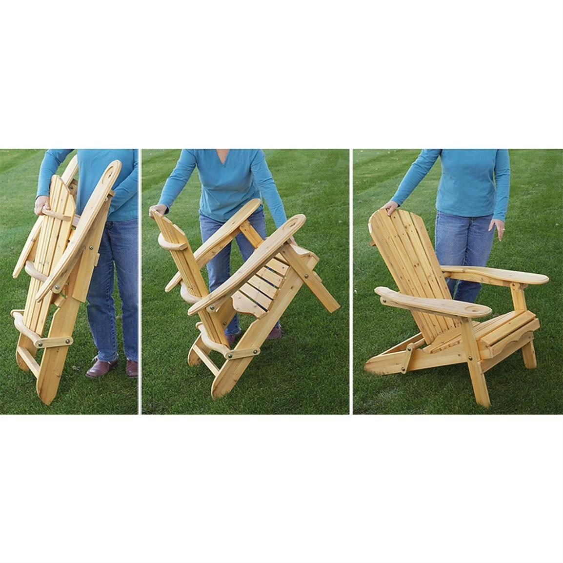 Castlecreek Folding Wood Adirondack Rocking Chair 232380 Patio Furniture At Sportsman S Guide