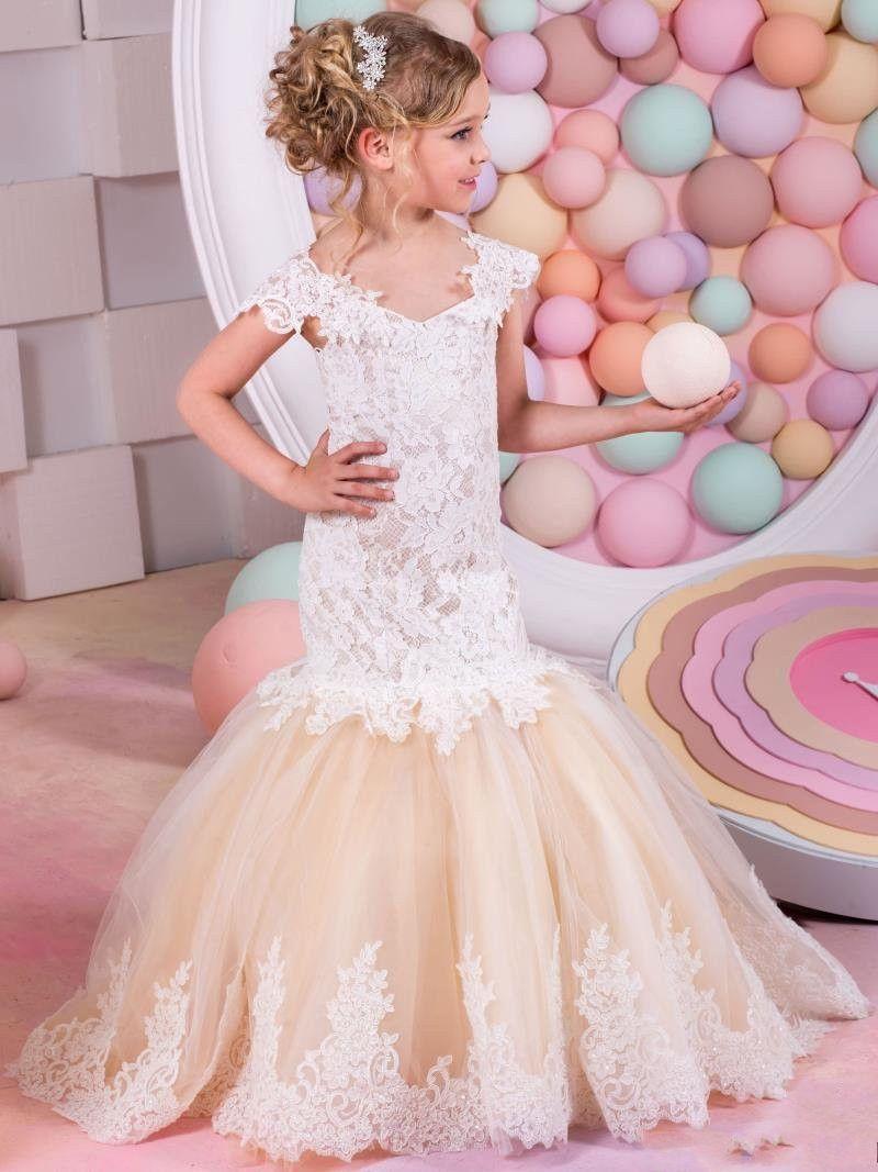 Mermaid Lace Arabic Flower Girl Dresses for Weddings Champagne Tulle ...