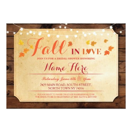 Rustic Bridal Shower Party Fall in Love Invite