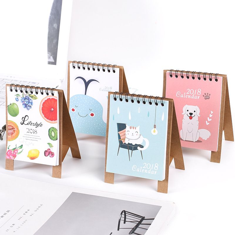 Cute 2018 Desk Desktop Calendar Flip Stand Table Office Planner Cartoon Animal S