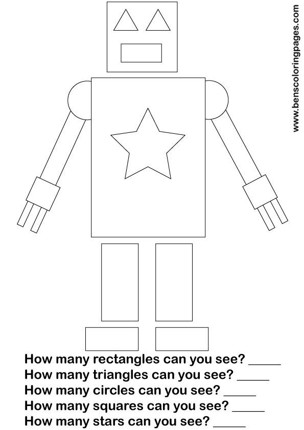 learn shapes maths printout for school | Speechie | Robot classroom ...