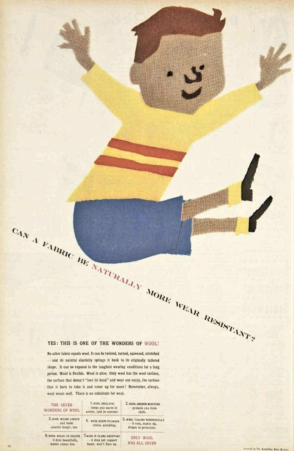 Australian Wool Bureau 1953   Wool, Vintage fabric, Fabric