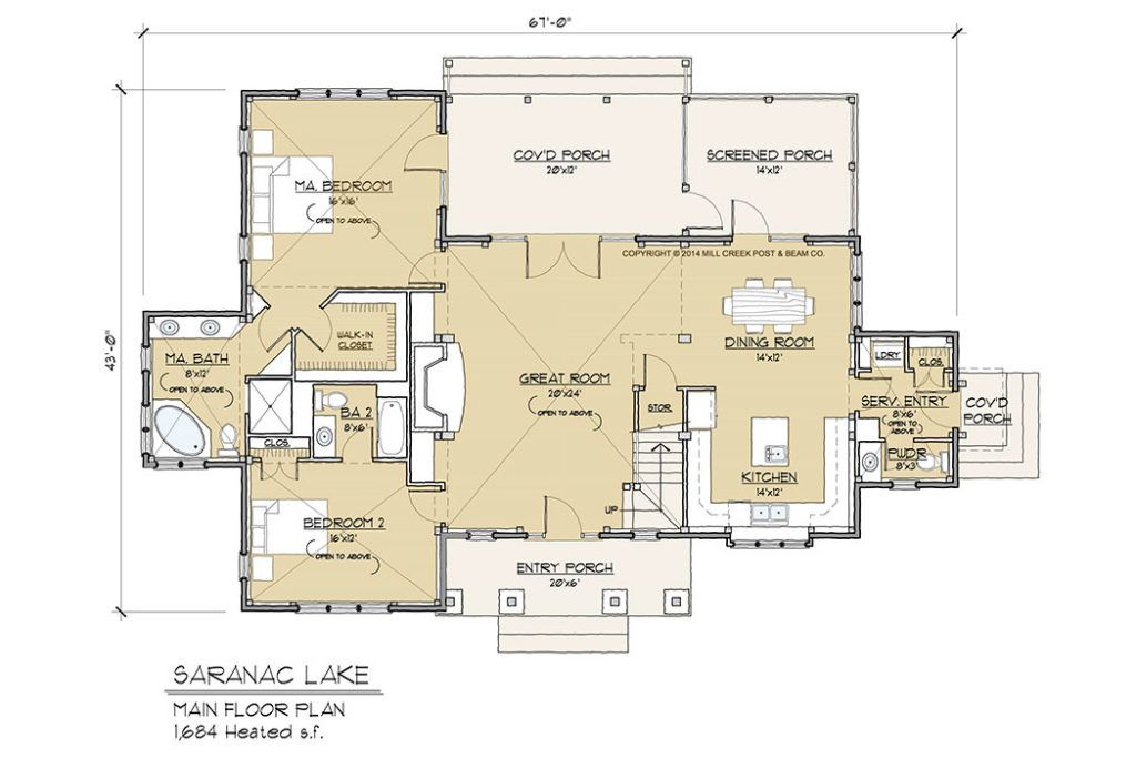 Saranac Lake Timber Frame Floor Plan By Mill Creek Floor