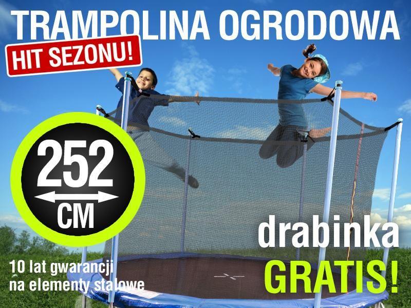 Trampolina 252cm Siatka W Srodku Drabinka Baseball Cards Cards Sports