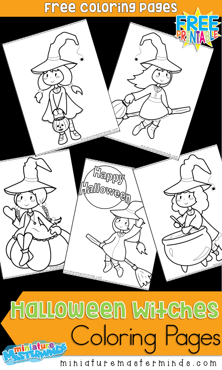 Free printable cute witches coloring pages kids crafts